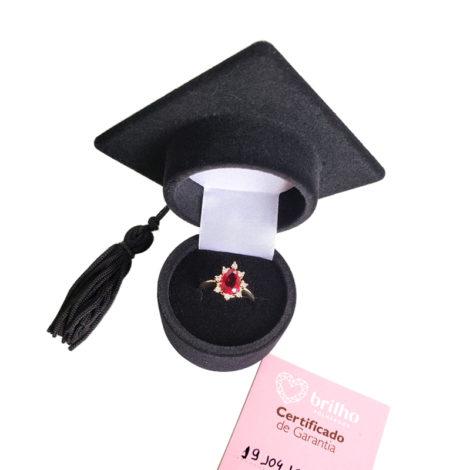 1910414 anel de formatura vermelho com zirconias brancas joia folheada ouro antialergica com caixa capelo loja brilho folheados 7