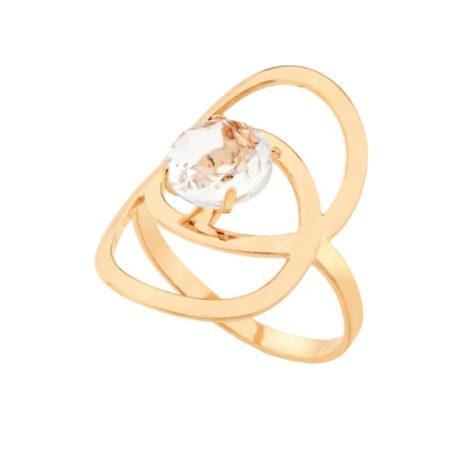 512447 anel pecas redondas sobrepostas com crista facetado joia folheada ouro 18k marca rommanel loja brilho folheados