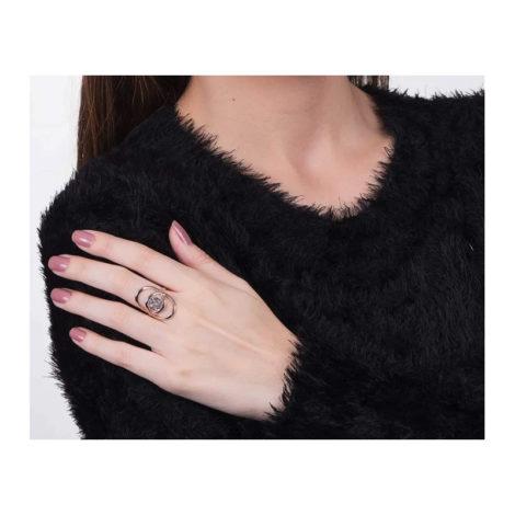 512447 anel pecas redondas sobrepostas com crista facetado joia folheada ouro 18k marca rommanel loja brilho folheados anel modelo