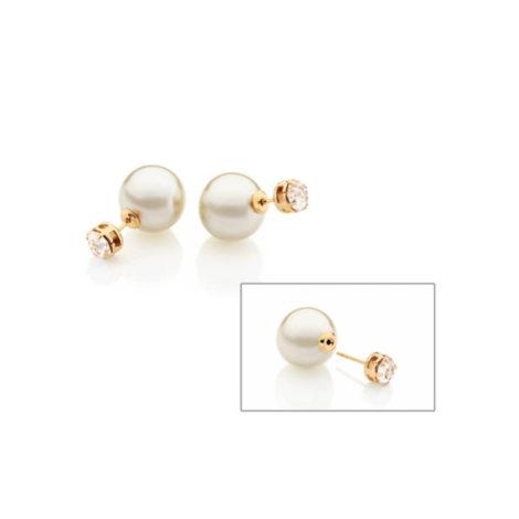 525133 brinco earjacket zirconia cristal e perola estilo diior marca rommanel loja brilho folheados