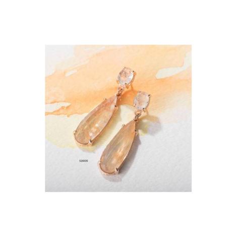 526035 Brinco formado por base oval com 2 cristais facetados bege 2 cristais gota facetedo bege marca rommanel loja brilho folheados 1