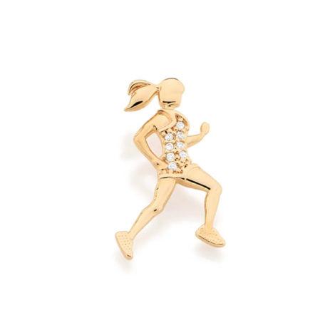 541724 Pingente no formato de mulher praticando corrida com zircônias joia folheada ouro marca rommanel loja brilho folheados