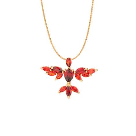 542068 531498 colar corrente s diamantada pingente espírito santo cristais vermelhos joia rommanel loja brilho folheados