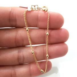 550104 pulseira bolinhas infantil folheado a ouro 18k marca rommanel loja brilho folheados