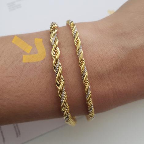 CE0094 18 cm pulseira trancada dois tons trabalhada folheada ouro 18k marca bruna semijoias loja revendedora brilho folheados foto modelo 10