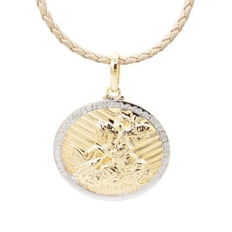 medalha sao jorge grande dourada com borda prateada com corrente de couro trancado bege 18k brilho folheados