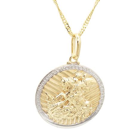 medalha sao jorge grande dourada com borda prateada com corrente singapura diamantada folheada ouro 18k brilho folheados