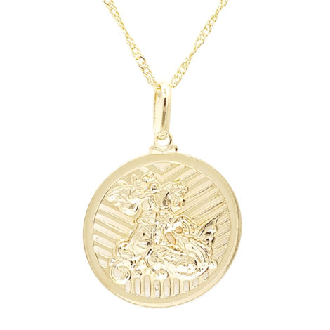 medalha sao jorge grande dourada com borda prateada com corrente singapura diamantada folheada ouro 18k brilho folheados foto lado de tras da medalha