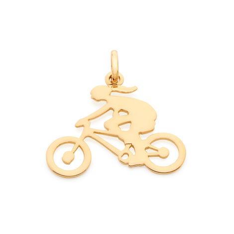 542070 pingente liso vazado formado por menina ciclista joia rommanel loja revendedora brilho folheados