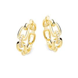 1690296 brinco argola elos de corrente rigida tamanho medio com zirconias joia folhedada ouro marca sabrina loja revendedora brilho folheados loja