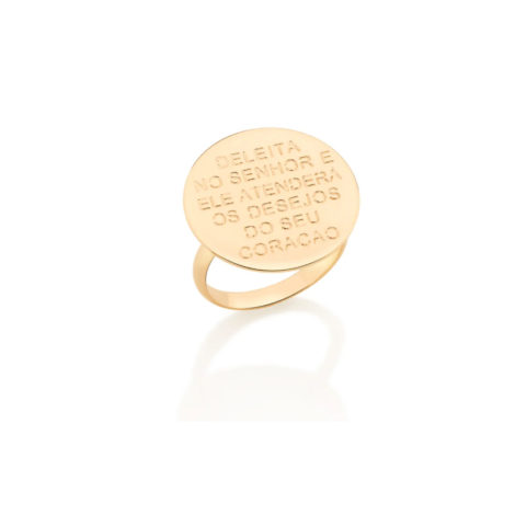 512824 anel base circulo com frase biblica deleita no senhor simone e simaria rommanel loja revendedora brilho folheados