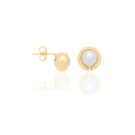 520401 brinco perola solitaria com peca de metal dourado sobreposta marca rommanel loja revendedora brilho folheados 1