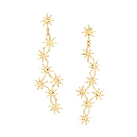 525679 brinco comprido com 8 estrelas com pontas unidas marca rommanel loja revendedora brilho folheados