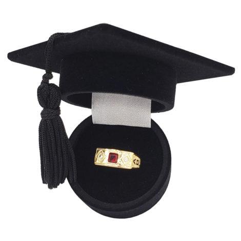 AB1208 anel formatura infantil abc pedra vermelha joia antialergica brilho folheados 1 ano de garantia