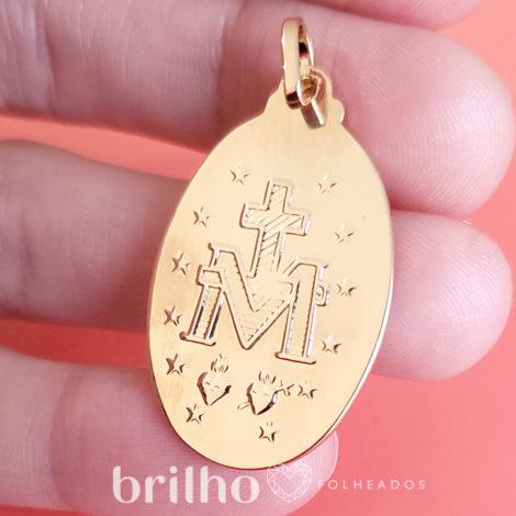 medalha oval milagrosa de nossa senhora das gracas verso marca bruna semijoias loja brilho folheados