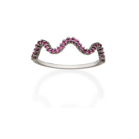 410036 anel aro fino ondas zirconias fucsia rosa escuro simone e simaria rommanel loja revendedora brilho folheados