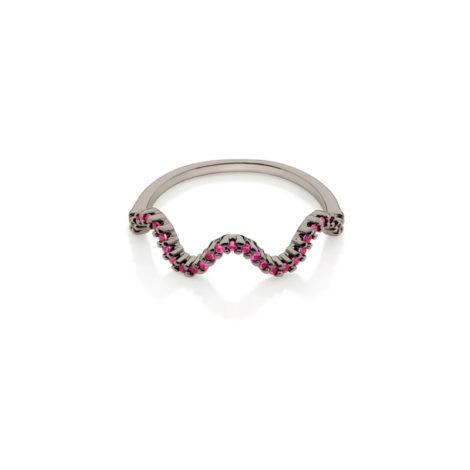 410036 anel aro fino ondas zirconias fucsia rosa escuro simone e simaria rommanel loja revendedora brilho folheados 7