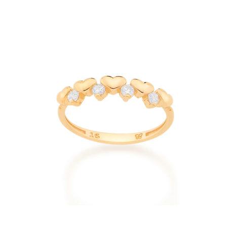 512815 anel meia alianca formada por 5 coracoes intercalados por 4 zirconias rommanel loja revendedora brilho folheados 1