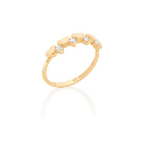 512815 anel meia alianca formada por 5 coracoes intercalados por 4 zirconias rommanel loja revendedora brilho folheados 2