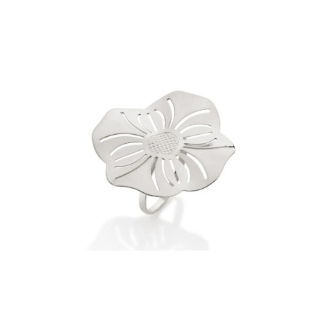 110838 anel prateado aro liso parte superior flor estilizada detalhes vazados curacao blue marca rommanel loja revendedora brilho folheados 4