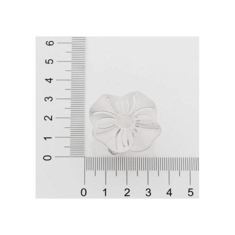 110838 anel prateado aro liso parte superior flor estilizada detalhes vazados curacao blue marca rommanel loja revendedora brilho folheados 5
