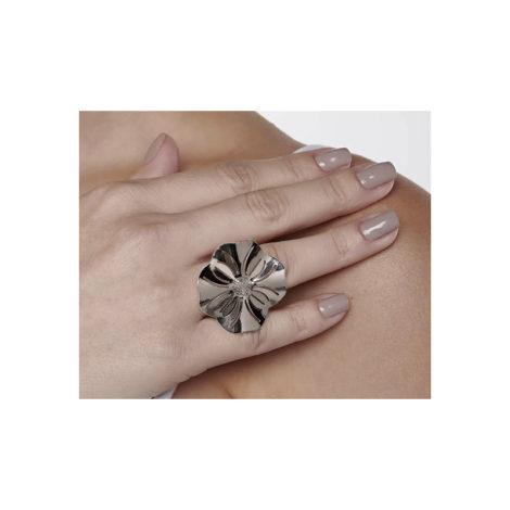 110838 anel prateado aro liso parte superior flor estilizada detalhes vazados curacao blue marca rommanel loja revendedora brilho folheados 6