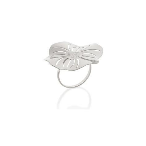 110838 anel prateado aro liso parte superior flor estilizada detalhes vazados curacao blue marca rommanel loja revendedora brilho folheados 7