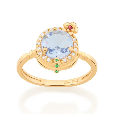 110839 anel dourado formato drink cravejado com zirconias coloridas curacao blue marca rommanel loja revendedora brilho folheados 2