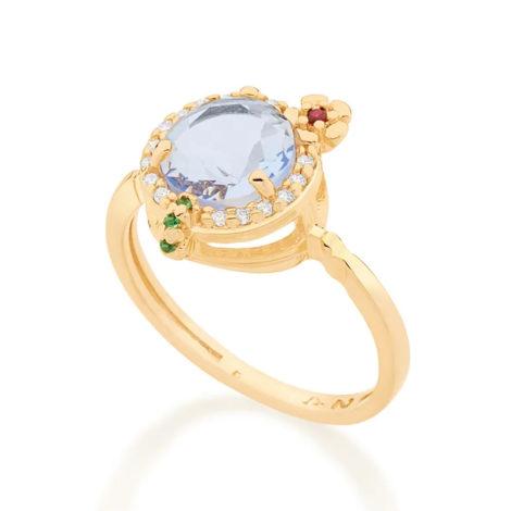 110839 anel dourado formato drink cravejado com zirconias coloridas curacao blue marca rommanel loja revendedora brilho folheados