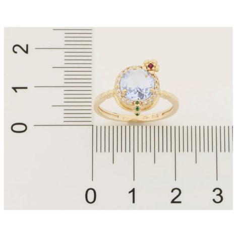 110839 anel dourado formato drink cravejado com zirconias coloridas curacao blue marca rommanel loja revendedora brilho folheados 6