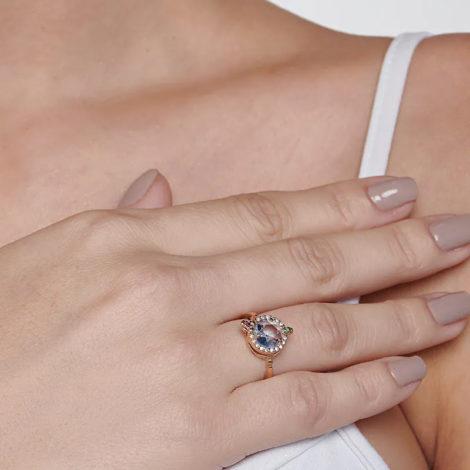 110839 anel dourado formato drink cravejado com zirconias coloridas curacao blue marca rommanel loja revendedora brilho folheados 7
