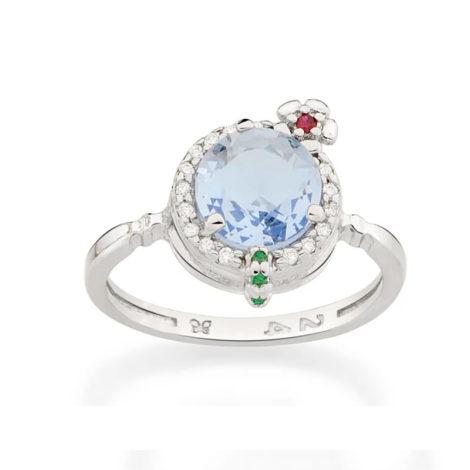 110839 anel prateado formato drink cravejado com zirconias coloridas curacao blue marca rommanel loja revendedora brilho folheados 3