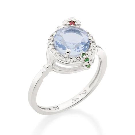 110839 anel prateado formato drink cravejado com zirconias coloridas curacao blue marca rommanel loja revendedora brilho folheados 4