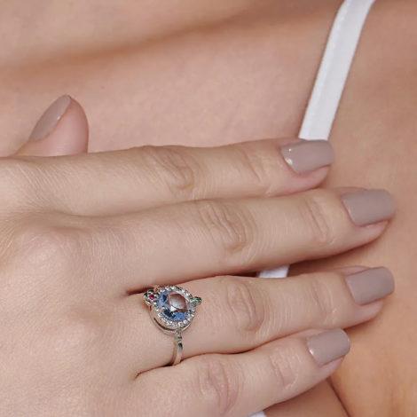 110839 anel prateado formato drink cravejado com zirconias coloridas curacao blue marca rommanel loja revendedora brilho folheados 5