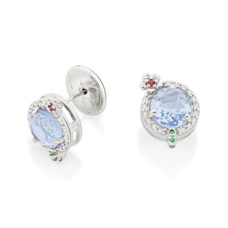 110839 brinco prateado drink curacao cristal azul claro e zirconias joia rommanel loja revendedora brilho folheados