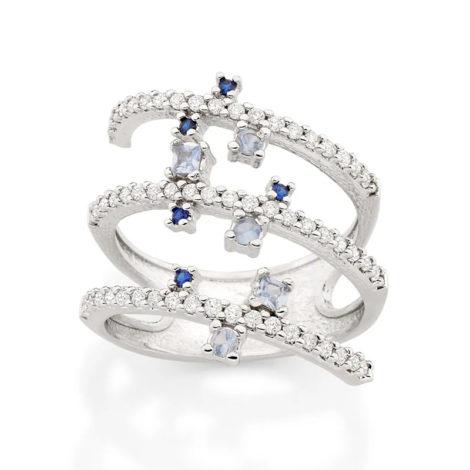 110840 anel espiral prateado cravejado com zirconias brancas e azuis curacao blue marca rommanel loja revendedora brilho folheados 4