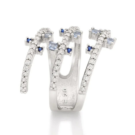 110840 anel espiral prateado cravejado com zirconias brancas e azuis curacao blue marca rommanel loja revendedora brilho folheados 5