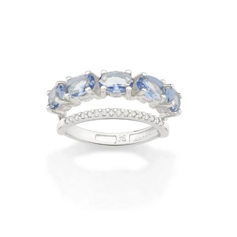 110841 anel duplo aro cravejado com zirconias aro composto de cristais ovais azuis marca rommanel loja revendedora brilho folheados 1