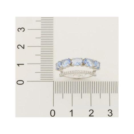 110841 anel duplo aro cravejado com zirconias aro composto de cristais ovais azuis marca rommanel loja revendedora brilho folheados 3
