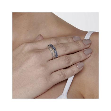 110841 anel duplo aro cravejado com zirconias aro composto de cristais ovais azuis marca rommanel loja revendedora brilho folheados 5