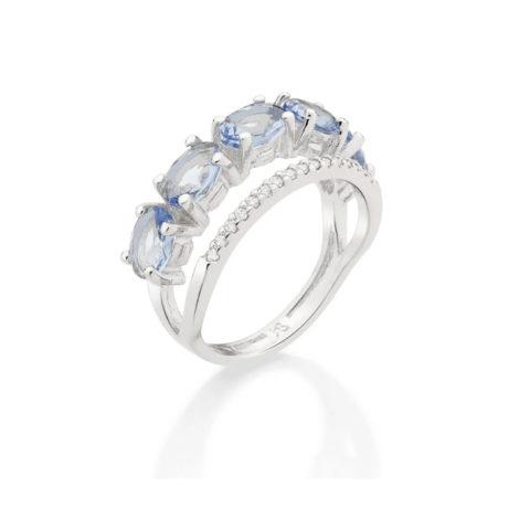 110841 anel duplo aro cravejado com zirconias aro composto de cristais ovais azuis marca rommanel loja revendedora brilho folheados 7