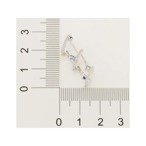 121773 brinco prateado formato espiral zirconias brancas e azuis marca rommanel loja revendedora brilho folheados 2