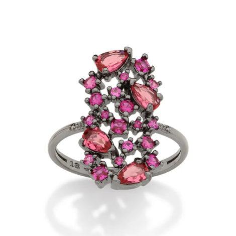 410037 anel rodio negro cristais e zirconias rosa colecao curacao blue marca rommanel loja revendedora brilho folheados 4