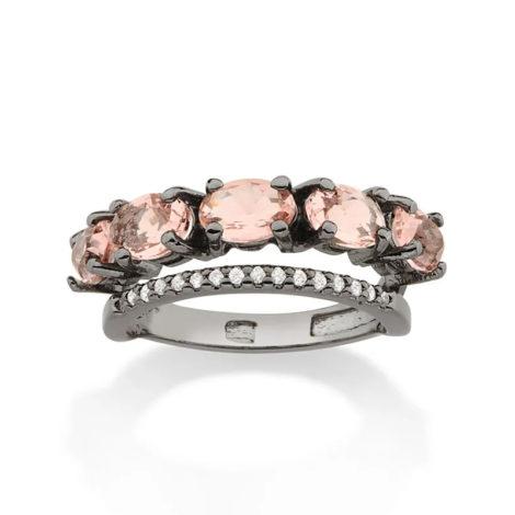 410038 anel ródio negro duplo aro cravejado com zirconias aro composto de cristais ovais rosa marca rommanel loja revendedora brilho folheados 3