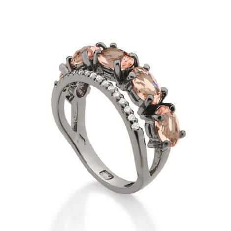 410038 anel ródio negro duplo aro cravejado com zirconias aro composto de cristais ovais rosa marca rommanel loja revendedora brilho folheados 4