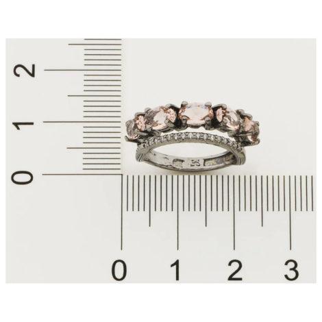 410038 anel ródio negro duplo aro cravejado com zirconias aro composto de cristais ovais rosa marca rommanel loja revendedora brilho folheados 5