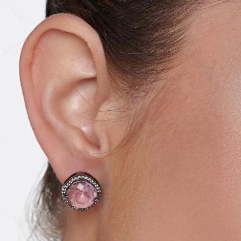 420052 brinco rodio negro cristal quadrado borda arredondada borda cravejada com zirconias marca rommanel loja revendedora brilho folheados 6