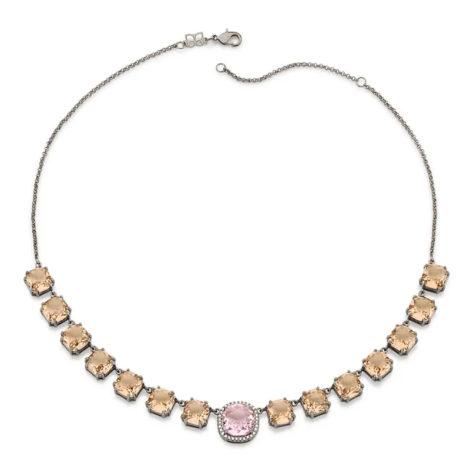 430043 gargantilha elos portugueses cristais rosa e rose curacao blue marca rommanel loja revendedora brilho folheados 3