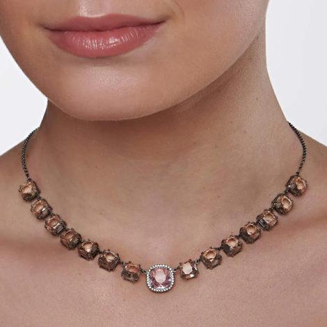 430043 gargantilha elos portugueses cristais rosa e rose curacao blue marca rommanel loja revendedora brilho folheados 4