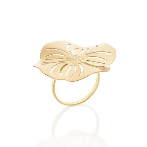 512785 anel aro liso parte superior flor estilizada detalhes vazadsos curacao blue marca rommanel loja revendedora brilho folheados 4
